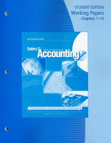 Download Century 21 Accounting: Multicolumn Journal Working Papers, Chapters 1-16 0538447087