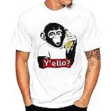 Tefamore Hommes Impression T-Shirts Chemise à Manches Courtes été Blouse (XL, Blanc-1)