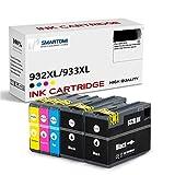 SMARTOMI 932XL 933XL Pack de 5 compatibles con Cartuchos de Tinta HP Officejet 6100 6600 6700 7110 7610 7612 7510 (2BK 1C 1M 1Y)