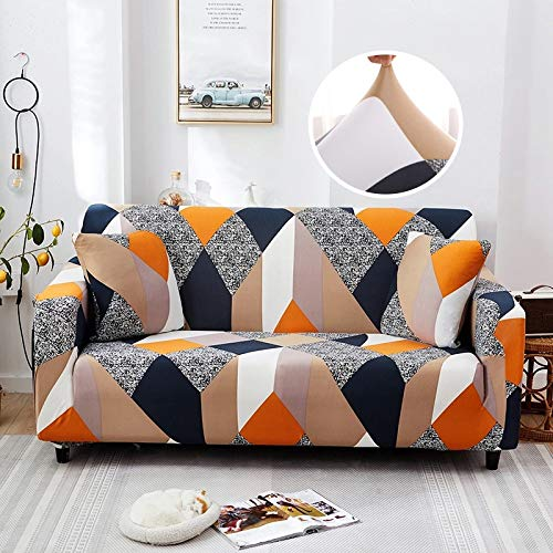 WXQY Funda de sofá elástica con patrón Cruzado Estiramiento Fundas de sofá con Todo Incluido para Sala de Estar Funda de sofá Loveseat Fundas de sofá A8 4 plazas