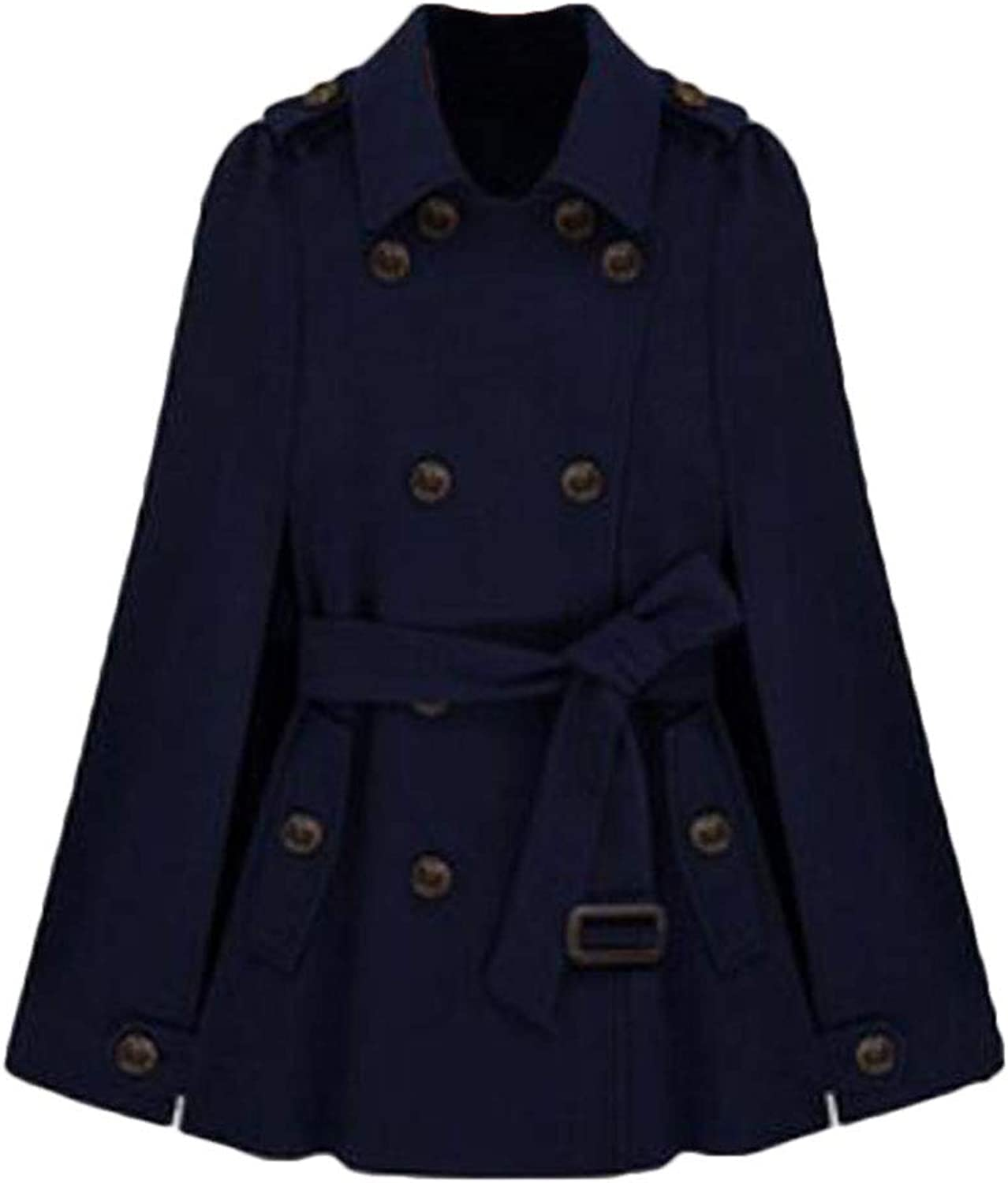 Domple Women Cape Double Breasted Shawl Belted Stylish Pea Coat