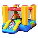 Costway Château Gonflable avec Toboggan pour 2 Enfants de 3 à 5 Ans, Aire de Jeux Gonflable pour Sac de Transport, Piquets d'Ancrage au Sol, Kit de Réparation (avec Pompe Air De 300W)