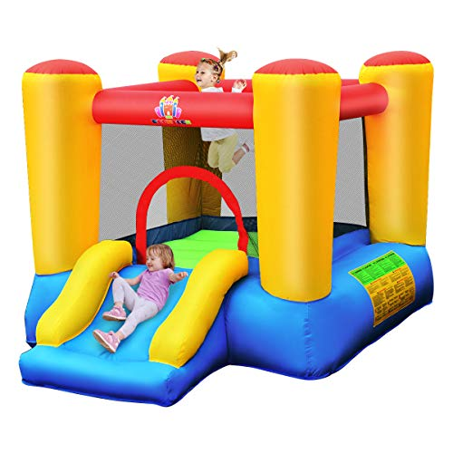 BOUNTECH Inflatable Bounce House, Kids Jump 'n Slide Bouncer with Jumping Area, Slide, Surrounded...