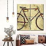 Mural 4 Piezas Pintura En Lienzo,4 Piezas Cuadro Lienzo Paisaje Restaurado Bicicletas Antiguas Modular Moderna 4 Piezas,Mural Pared Salon,Decorativo Pared,Listo Para Colgar,Creative Gift Xxl 30X30Cm