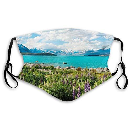 QYGA-3BU Winddichte Aktivkohlehauben, Natur, Tekapo-See mit blühenden Lupinen an der Küste der südlichen Alpenwiese Neuseelands, Grün, Blau, Weiß, Gesichtsdekorationen