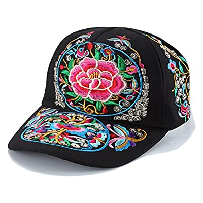 Vintage Embroidered Flower Ponytail Baseball Cap for Women Fashion Colorful Adjustable Visor Trucker Hat