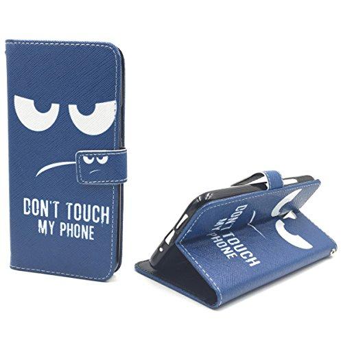 König Design Handyhülle Kompatibel mit Lenovo ZUK Z1 Handytasche Schutzhülle Tasche Flip Hülle mit Kreditkartenfächern - Don't Touch My Phone Weiß Dunkelblau