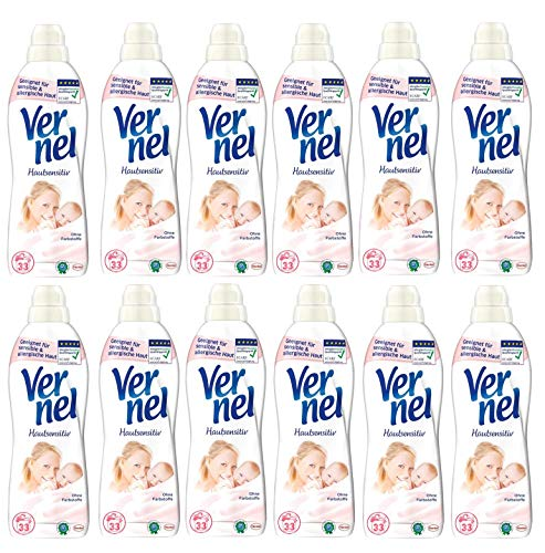 Vernel Hautsensitiv, 12er Pack (12 x 1 Liter) Weichspüler Waschmittel