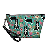 LedBack Funny Border Collie Printed Cute 3D Cartoon PU Cosmetic Bag Zipper Pouch Purse Waterproof Travel Toiletry Pouch Animals and Flowers Makeup Bag for Women