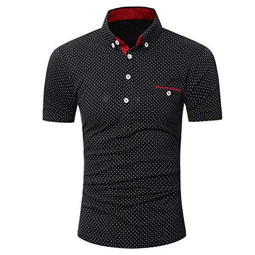MPLG Shirt Weißes Hemd Mit Schwarzen Tupfen Beiläufiges Kurzarmhemd für Herren Slim Fit Business SlimHemd Bluse mit Punktmuster , Schwarz , M