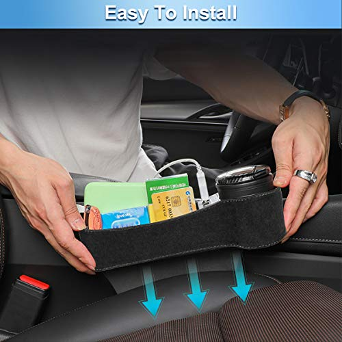 CAVEEN Car Seat Gap Filler, Multifunctional Car Seat Organizer, Car Console Side Organizer with 2 USB Charging, Car Seat Pockets Storage Box for Cellphone Wallet Coin Key, 2 Pack, Black