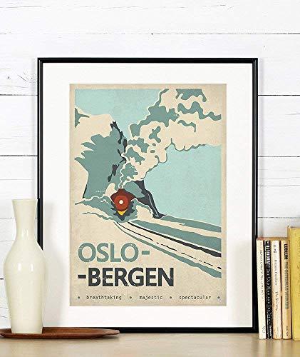 Travel Poster, Norwegen, Oslo, Bergen, Zug, Berge, Reise, Skandinavien, Skandinavisches Dekor