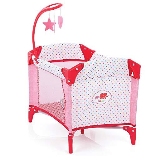Hauck D90889 Puppenbett mit Mobile, Baby Center, Laufstall für Puppen, zusammenklappbar - Rosa/Rot