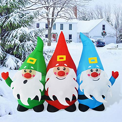 GOOSH 7Foot Length Christmas Inflatable Blow up Three Santa Claus Holiday Yard Decoration Indoor Outdoor Garden Inflatables Christmas Decorations