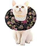 ANIAC Pet Adjustable Comfy Cone Soft Recovery Protective E-Collar Post Surgery Stress-Free Collar from Surgery,Wound Healing for Cats (Floral, Medium)