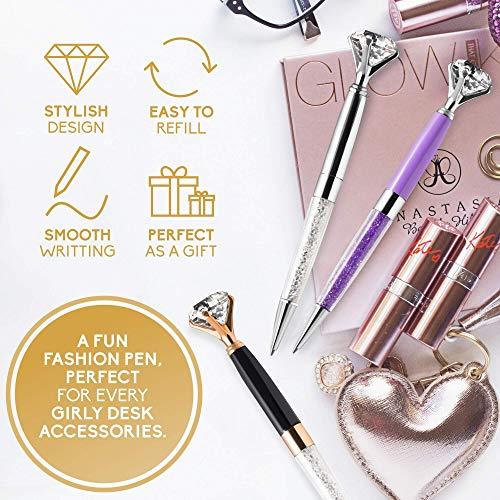 6 Fancy Crystal Diamond Ballpoint Pens – 6 Black Ink Refills 6 Cute Gift Bag Big Bling Writing Pen Rose Gold Silver Fun Nice Cool Jewel Bulk Set for Women Girls Wedding Top School Desk Office Supplies Photo #8