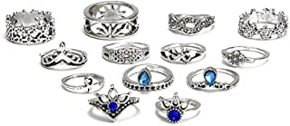 ANGELANGELA Vintage Assorted 12 Set Stacking Rings, Antique Silver Joint Above Knuckle Nail Midi Band Statement Stackable Cuff Toe Finger Ring Set (13Pc/Set Horse)