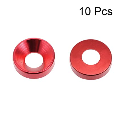 uxcell 10Pcs 0.47 x 0.2 x 0.13 Aluminum Alloy Countersunk Washer for Screw Bolt Red