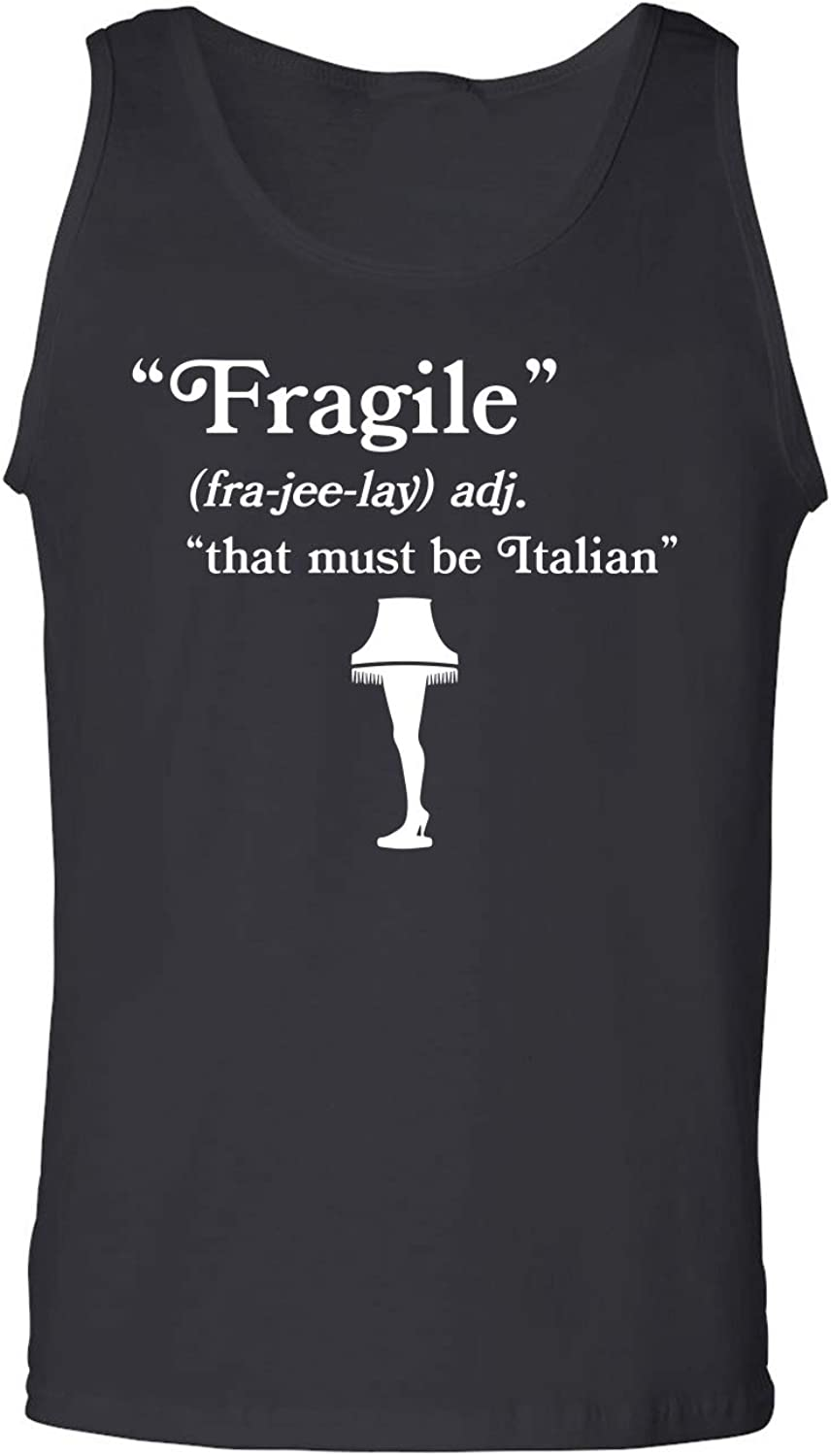 Fragile That Must Be Italian Adult Tank Top in Black - XX-Large