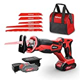 POPULO Cordless Reciprocating Saw, 20V MAX 2.0Ah Battery Power Saw, Electric Saws All Saw for Wood, Trees, or Metal Cutting, Cordless Sawzall with Battery and Charger