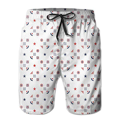 Men's Big and Tall Swim Trunks Beachwear Drawstring Summer Holiday,Fourth of July Independence Day Traditional Abstract Square Forms Illustration,3D Print Shorts Pants,Medium