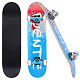 GaiusiKaisa Kicker - Tabla de skateboard (31', para principiantes y profesionales, forma cóncava con doble golpe, madera de arce, 9 capas, rodamientos ABEC9 para adolescentes y adultos, color azul)