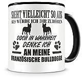 Samunshi® Ich denke an meinen Französische Bulldogge Hunde Tasse Kaffeetasse Teetasse Kaffeepott Kaffeebecher Becher