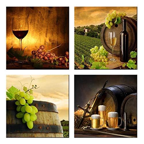 XKLDP Cuadros de Barril de Copa de Vino Tinto Pintura en Lienzo Arte Impreso Cartel de Pared decoración de habitación de cocina-30x30cmx4 Piezas sin Marco