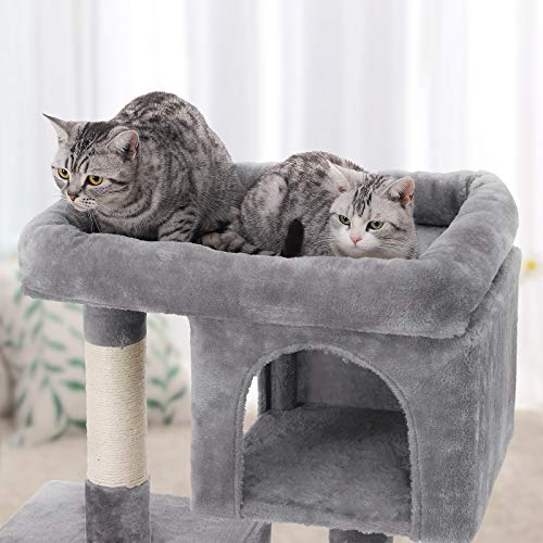 "FEANDREA Cat Tree Tower for Large Cats, 2 Cozy Plush Condos Sisal Posts, 33.1"" H, Light Gray UPCT61W"