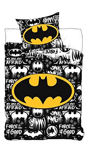 BrandMac ApS Batman Wende-Bettwäsche-Set 2-teilig Schwarz Weiß 100% Baumwolle Bettbezug 135x200 Kissen-Bezug 80x80 Comic Kinder-Bettwäsche