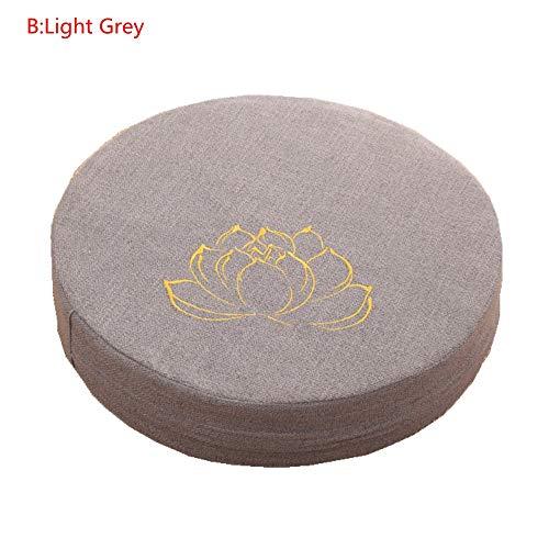 NEW Ronda de Lino del Amortiguador de Asiento Tatami Balcón Mirador Acolchado meditación Cojín de meditación Tatami Estera de Loto (Color : Lotus Pattern Grey)