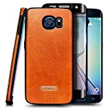E-Began Phone Case for Samsung Galaxy S6 Edge with Screen Protector (Soft 3D Full Coverage), Premium PU Leather Ultra Thin Slim Fit Soft Flexible Non-Slip Grip Shockproof Anti-Scratch Cover (Brown)