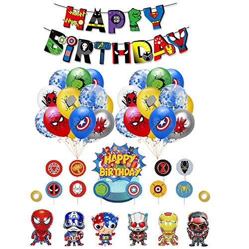 Smileh Supereroi Decorazioni di Compleanno Palloncini Supereroi Palloncini Avengers Supereroe Happy Birthday Banner Supereroe Cake Topper Supereroi Forniture per Feste a Tema di Supereroi