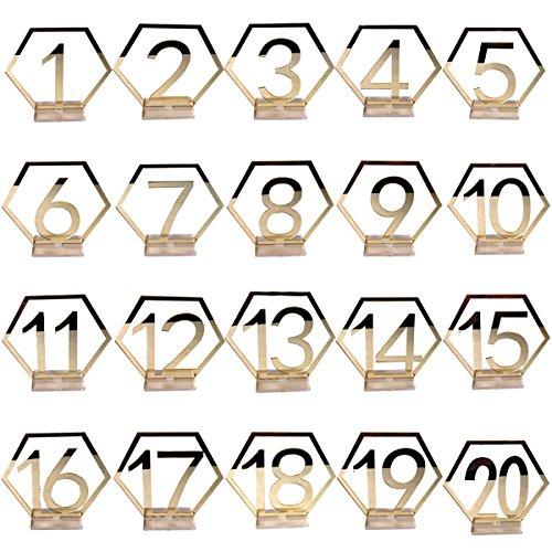 Amosfun 1 – 20 numeri da tavolo per matrimonio, in acrilico, con specchio argentato, per segnaposto, segnaposto, targa, decorazione per matrimoni, compleanni (oro)