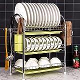 Escurridor de platos de acero inoxidable de 2 niveles/3 niveles con una bandeja desmontable 3-Tier