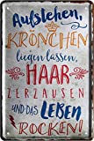 Blechschilder Cartel decorativo de metal con texto en alemán 'Aufstehen Krönchen...