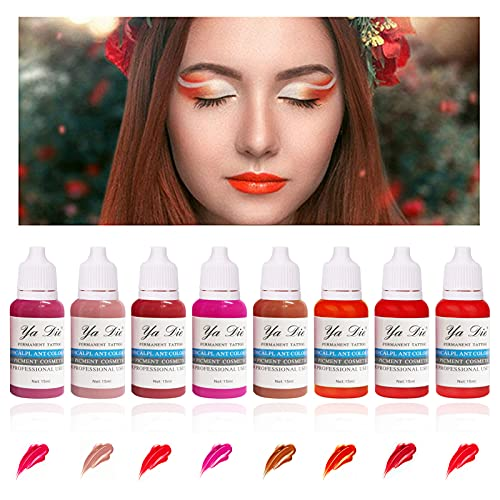 8 Couleurs Tattoo Ink Set Permanent Makeup Paint Pigment for Permanent Lipstick Ink for Lip Tattoo
