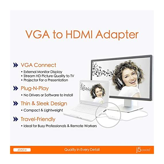 j5create VGA to HDMI Video Audio Adapter 3 Easily transform your VGA device into an HDMI connection Plug-and-Play, no software required Supports video resolutions up to 1920x1200 and USB Audio
