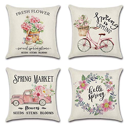 Tamengi Set of 4 Spring Floral Throw Pillow Covers 18x18 Inch Fresh Flowers Decorative Couch Pillow Cases Cotton Linen Case Square Cushion Covers for Living Room, Bed, Sofa, Couch and Car (Pink)
