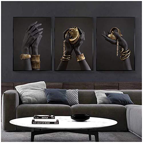 Mano negra y dorada con pulsera de oro Pintura al óleo sobre lienzo Carteles de arte africano Impresiones Cuadros de pared para decoración de sala de estar 30x40cm (12x16in) × 3