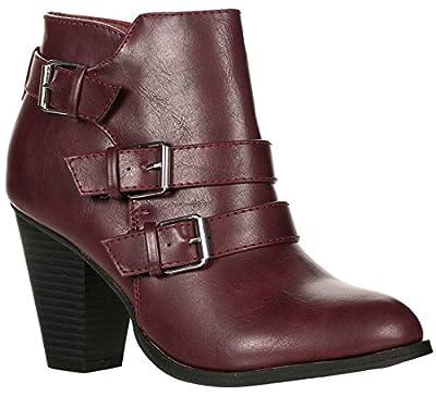 Forever Women's Buckle Strap Block Heel Ankle Booties