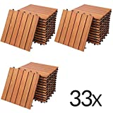 Deuba 33x Holzfliesen Eukalytus | FSC®-zertifiziertes Eukalyptusholz | 30x30 cm Fliese Stecksystem Mosaik | Zuschneidbar Terrasse Balkon Set