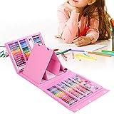 Kid Art Set Water Color Pen Crayon Lápiz de color en polvo Pintura Dibujo Papelería Herramienta Estuche de regalo rosa con asa para alta portabilidad.