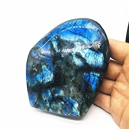 ZXCZXC Cuarzo Natural Labradorita Cristal Azul Moonstone Nail Piedra Preciosa Ornamento Pulido Reiki Handicraft Decoración de Piedra (Size : 600 700g)