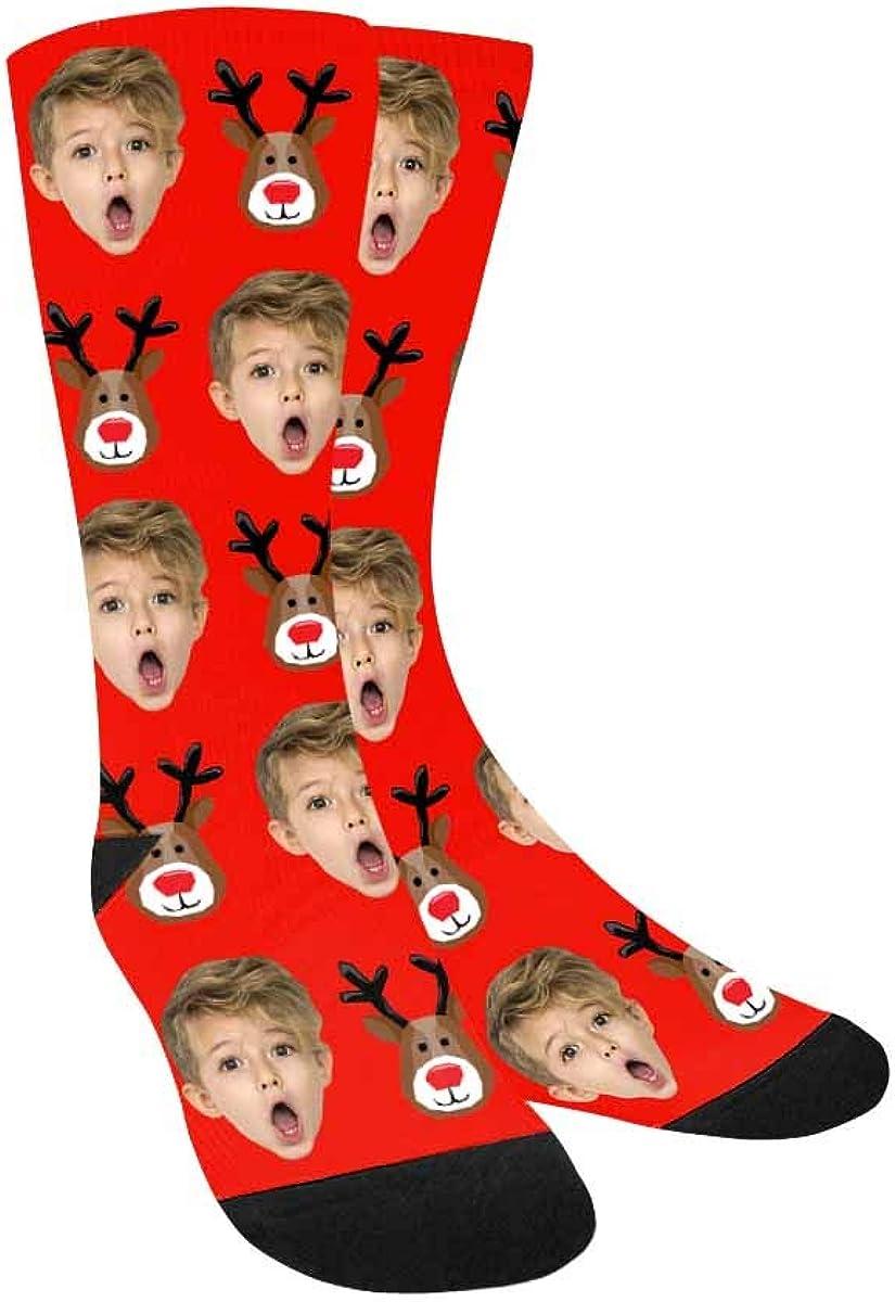 Custom Face Socks,Turn Your Photo Into Christmas Elk Blue Crew S