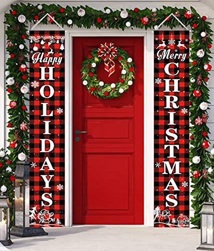 Unves Christmas Porch Sign, Red Black Buffalo Plaid Happy Holidays & Merry Christmas Banners Hanging Christmas Decorations for Home Yard Indoor Outdoor Front Door Wall