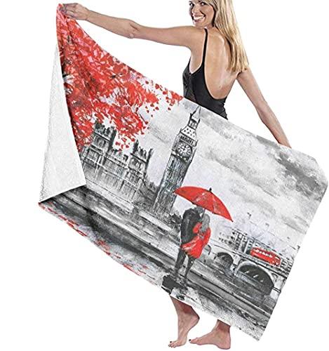 Toalla De Playa Toallas Bañon,Pintura Al Óleo sobre Lienzo Vista De La Calle del Río De Londres Y El Autobús En El Puente Toalla De Baño Altamente Absorbente para Baño 70X140Cm (28X56 Pulgadas)