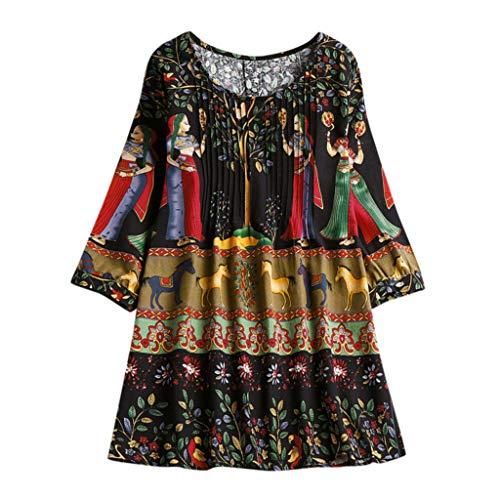 VEMOW Damen Sommer Herbst Elegante damen Floral Printed Langarm Beiläufig Täglichen Party Workout Tunika Swing Tops Shirt Bluse Hemd(Y9-Schwarz, EU-44/CN-M)