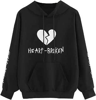 FRCOLT Women's Casual Heart Broken Long Sleeve Sweatshirt Hoodies with Pocket
