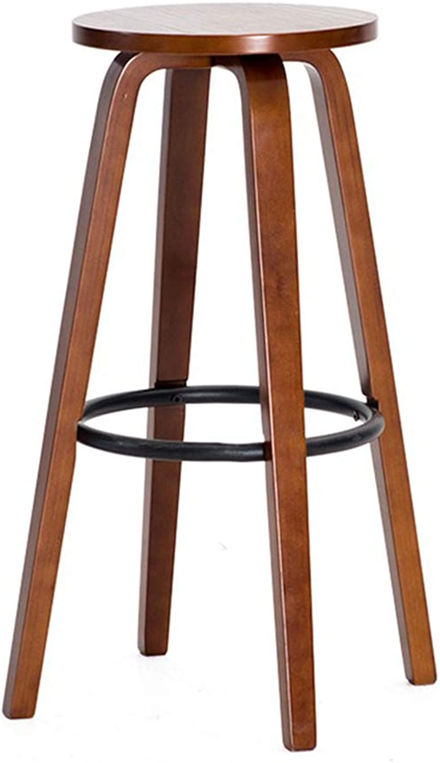 Retro Round Stool Bar Stool High Bench Bar Chair Wood Bar Desk Chair Household Kitchen High Stool   for 100-110cm Table  Brown